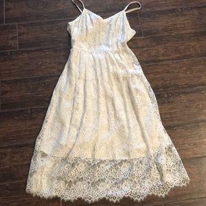 A&F EUC cream lace midi dress Small